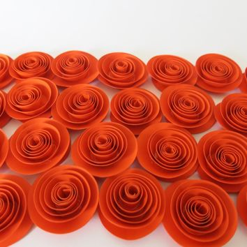 Dark Orange paper flowers set of 24 Embellishment ideas bling, Halloween party decorations, Fall Autumn Thanksgiving Dinner Table decor 1.5""