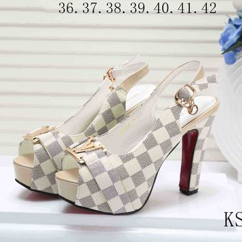 LV Louis Vuitton Trending Women Princess High Heels High-Heeled Shoes Sandals White Plaid I-KSPJ-BBDL