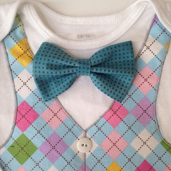 Easter Vest, Spring Bow Tie Vest, Bow Tie Onesuit for Easter, Argyle Vest Onesuit, Pastel Vest, Spring Outfit