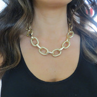 Thick and Chunky Textured and Smooth Gold Chain Necklace