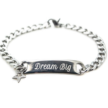 Engraved Stainless Steel ID Bracelet with Choice of Charm