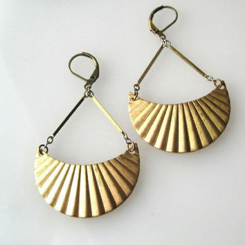 Golden Crescent Earrings by SeahagAndWalrus on Etsy