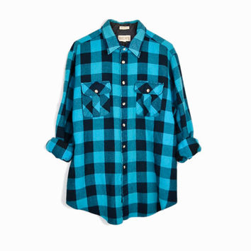 Vintage Buffalo Plaid Flannel Shirt / Aqua Blue & Black Plaid