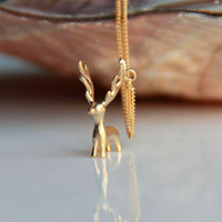 Reindeer necklace, gold plated deer necklace, Christmas gift necklace, cute deer necklace, gift for her, gift for girlfriend,