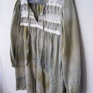 Mori Girl Hand Dyed Woman Blouse, Upcycled Romantic Peasant Top Size M Olive Green Mid Sleeve Shirt, Rustic Boho Autumn sustainable clothing