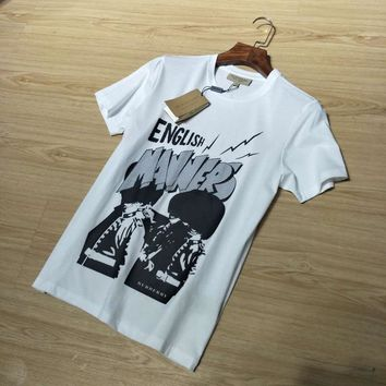 Burberry Men Casual Fashion Cartoon Letter Pattern Print Short Sleeve Cotton T-shirt Top Tee