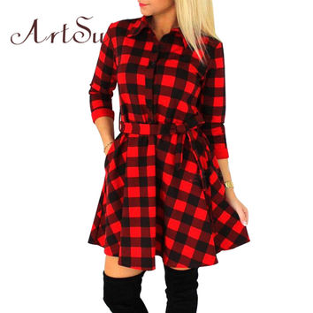ArtSu 2017 Fashion Women Mini Dress Vintage White Black Plaid Print 3/4 Sleeve Sexy Plus Size Plaid Short Dress ASDR10007