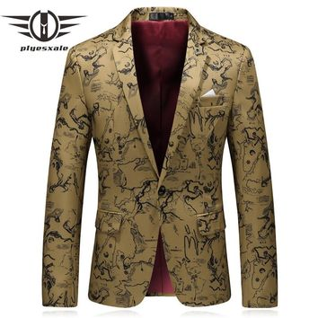 Men Printed Blazers Spring Slim Fit Casual Suit Jacket Khaki Vintage Blazer Man Clothing