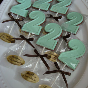 12 Milk Chocolate Number Two 2 Lollipops Birthday Party Favors Candy Sweets Dessert Table Goodies