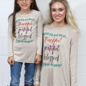 Thankful, Grateful Blessed Tunic {Tan Mix} KIDS SIZES