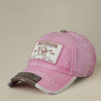 Womens Linen Buddah Patch Baseball Cap - (Fuschia) | True Religion Brand Jeans