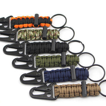 Woven Paracord Lanyard Keychain Keyfob with Carabiner Clip Hook 7 Strand Parachute Cord Flint Fire Starter