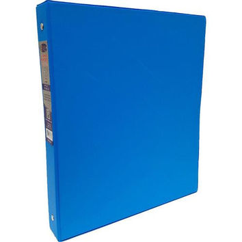 "1"" Neon Blue Vinyl 3-Ring Binder w/ 2 Pockets"