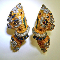 Sapphire Ruby Rhinestone Earrings, Gold Tone, Screw-On Clip, Vintage