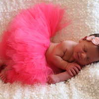 Coral Pink Tulle Tutu- Newborn ,Toddler, Photo Prop