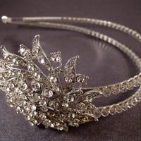 Double headband tiara with Swarovski crystals  by BridalSkies