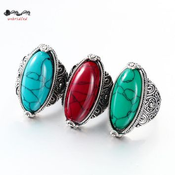 Fashion Jewelry Tibetan Alloy Silver Rings for Women Plated Exotic Hole Heavy Big Size Oval Green Stone 2017 New Ringbague femme