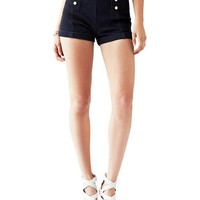 High-Rise Nautical Denim Shorts with Silicone Rinse | GUESS.com