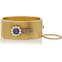 Olivia Collings - 1860s 18-karat gold, sapphire, diamond and pearl bracelet