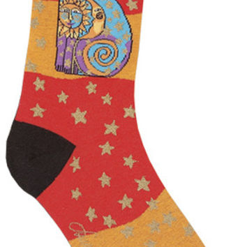 laurel burch socks-celestial cat-orange