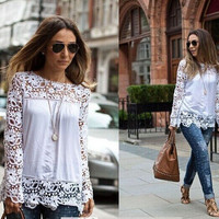 Chiffon Lace Long Sleeve Shirt blouse Top Casual Boho Top T-shirt b2204