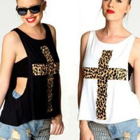 Black or White Leopard Cross Print Drop Hem Tank
