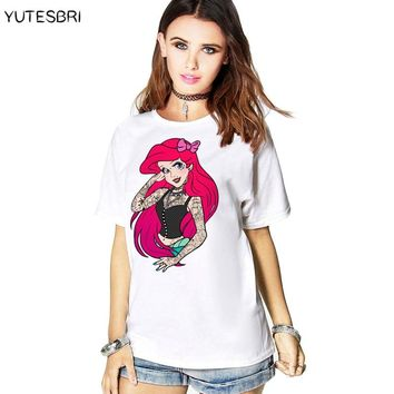 Summer Clothes The Little Mermaid casual T-shirt girls camisetas summer kawaii top tees female blusas harajuku white t shirts