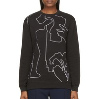 Carven Black And White Embroidered Sweatshirt