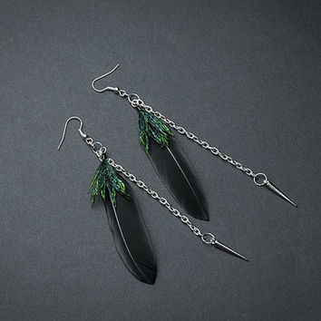 Silver spikes Gothic Feather earrings: Black feathers Gothic earrings  Goth earrings Punk earring Black Spikes earrings Black earrings