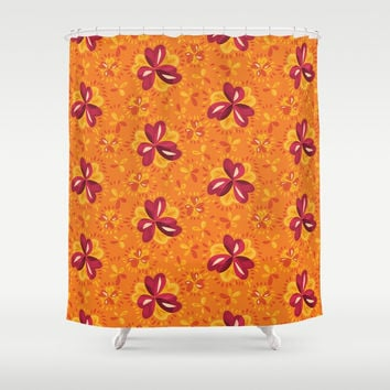 Orange And Pink Clover Abstract Floral Shower Curtain by borianagiormova