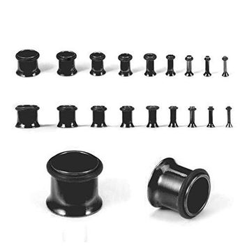BodyJ4You Plugs Kit Black Tunnels Ear Stretching Kit 14G-00G Body Piercing Jewelry Set 18 Pieces