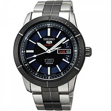 Seiko SRP343 Men's 5 Sports Black & Blue Dial Automatic Two Tone Steel Bracelet Watch