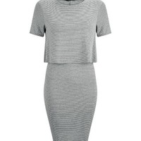 Grey Stripe Layered Mini Dress