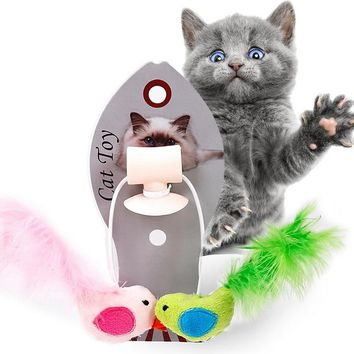 Hoomall Pet Cat Toys Interactive Mini Funny Feather Birds Playing Toys For Cats Dogs Home Playing Puppy Kitten Toys Pet Supplies