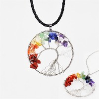 VelishyVelishy 7 Chakra Tree Of Life Pendant Necklace Copper Crystal Natural Stone Necklace Women Christmas Gift