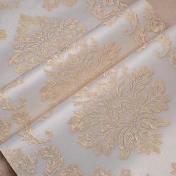 Relief Metallic Gold Texture Damask Wallpaper Luxury Wall Paper 3d Wallpaper for Walls Roll