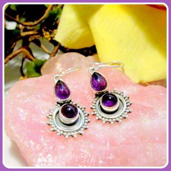 """Healing Love"" Amethyst Sterling Silver Earrings"