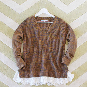 The Boyfriend Lace Sweater in Timber