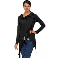 Stylish Women Cowl Neck Long Sleeve Asymmetric Tassel Casual Outwear Top Blouse