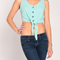 Cropped Vest-Like Tank in Aqua/Coral