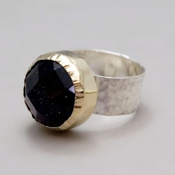 Silver Gold Ring With Blue Goldstone - Sterling Silver with 14k Gold - Royal Ring