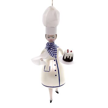 De Carlini PASTRY CHEF Glass Ornament Baker Cake Italian Do7227m