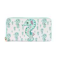 SEAHORSE PRINT VINYL CLUTCH WALLET FAUX LEATHER ZIPPER