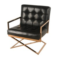 Connor Tufted Arm Chair Rose Gold Base, Black