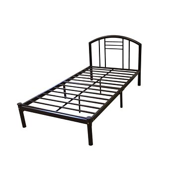 Full size Metal Platform Bed Frame with Headboard in Bronze Finis h