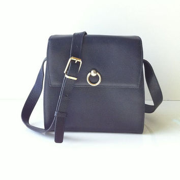 Vintage Celine Navy Leather Structured Cross Body Bag