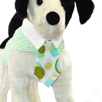 Green Seersucker Dog Vest Harness with White Collar and Print Tie