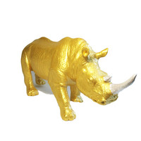 Huge Up-cycled Gold Rhino Decorative Figure