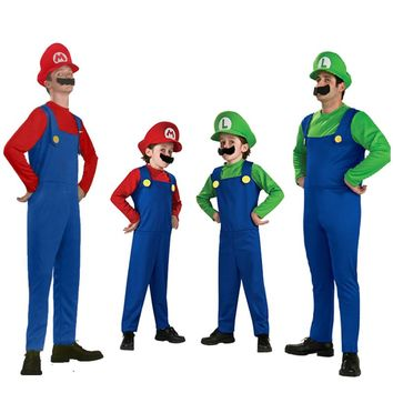 Halloween Costumes Funny Super Mario Luigi Brother Costume for Kids Children Boys Girls  women men Fantasia Cosplay Jumpsuit D40