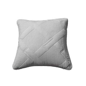 Tache Light Grey Silver Soothing Pastel Cotton Diamond Stitch Pattern Cushion Cover 2 Piece (JHW-862-CC)